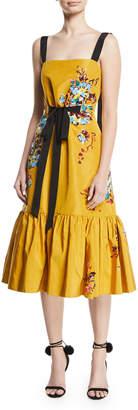 Prabal Gurung Square-Neck Sleeveless Floral-Embroidered Midi Dress w/ Flounce Hem