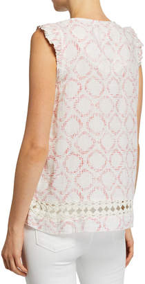 Lilla P Sleeveless V-Neck Geometric-Print Crochet Top