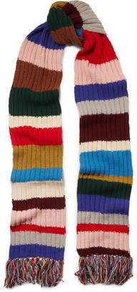 Burberry Fringed Striped Ribbed Wool Scarf - Red