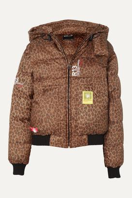 BRUMAL R13 Hooded Leopard-print Shell Down Bomber Jacket - Brown