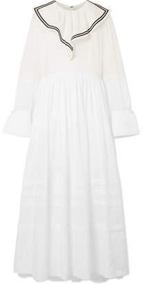 Philosophy di Lorenzo Serafini Sailor Ruffled Cotton-voile And Point D'esprit Maxi Dress - White