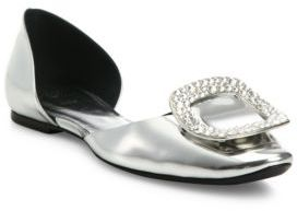 Roger Vivier Ballerine Chips Metallic Leather d'Orsay Flats $975 thestylecure.com