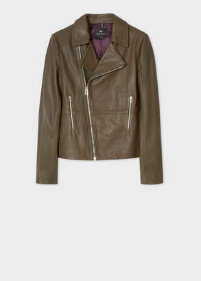 Paul Smith Women's Khaki Leather Biker Jacket