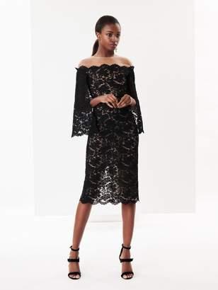 Oscar de la Renta Illusion-Neck Fern Corded Lace Cape-Back Cocktail Dress