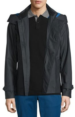 Michael Kors Double-Breasted Peacoat with Removable Hood, Black $595 thestylecure.com