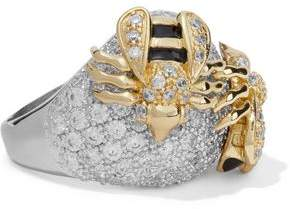 Kenneth Jay Lane Cz By Silver-Tone Gold-Tone Crystal And Enamel Ring