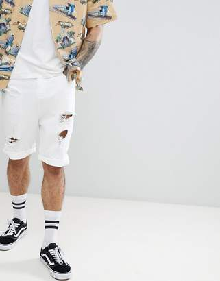 Asos DESIGN Drop Crotch Denim Shorts With Extreme Rips In White