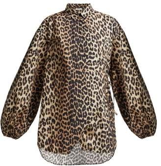 Ganni Faulkner Leopard Print Cotton Blouse - Womens - Leopard