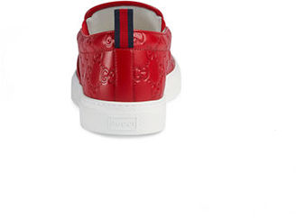 Gucci Dublin Signature Leather Slip-On Sneaker $580 thestylecure.com