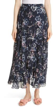 Rebecca Taylor Faded Floral Midi Skirt