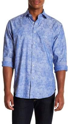 Thomas Dean Floral Check Long Sleeve Sport Fit Shirt
