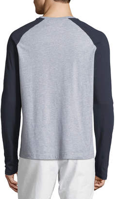 Original Penguin Men's Warped-Check Crewneck Long-Sleeve Raglan Shirt