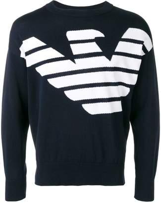 Emporio Armani knit large logo print jumper