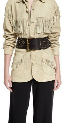 Ralph Lauren Collection Western Studded Leather Belt, Dark Brown $995 thestylecure.com