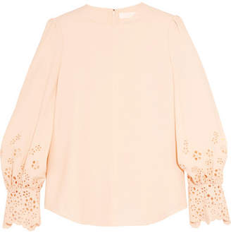 Chloé Embroidered Cady Top - Peach