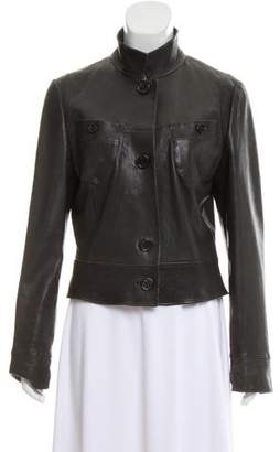 Rene Lezard Leather Button Front Jacket