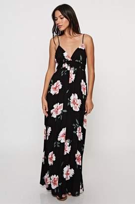 Love Stitch Floral Print Maxi-Dress