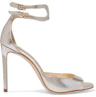 Jimmy Choo Lane 100 Metallic Cracked-leather Sandals - Silver