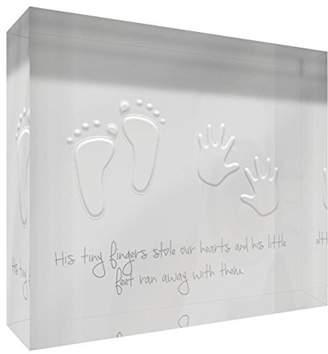 Keepsake Feel Good Art Diamond-Polished Acrylic Token/Baby 10.5 x 14.8 x 2 cm, Medium, Soft Grey, His Little Feet Stole our Hearts)