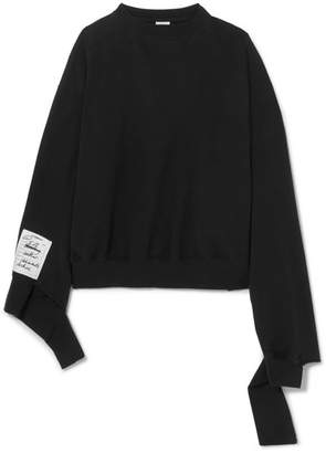 Vetements Oversized Distressed Cotton-jersey Sweatshirt - Black
