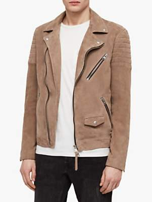Leo Suede Biker Jacket, Taupe Brown