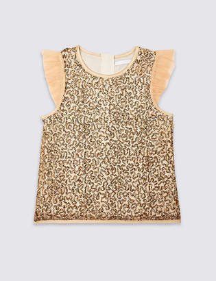 Marks and Spencer Sequin Shell Top (3-16 Years)