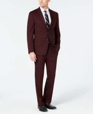 5b7f01280520 Van Heusen Men's Slim-Fit Flex Stretch Wrinkle-Resistant Wine Solid Suit