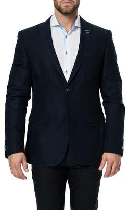 Maceoo Descartes Dark Navy Two Button Notch Collar Blazer