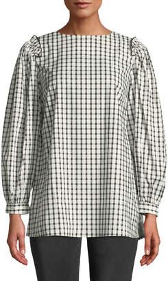 Neiman Marcus Checkered Ruffle-Shoulder Blouse