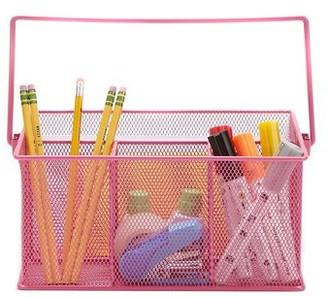 Mind Reader Metal Mesh Basket with Handle, Storage Basket Organizer, Utensil Holder, Forks, Spoons, Knives, Napkins, Perfect for Desk Supplies, Pencils, Pens, Staples, Pink