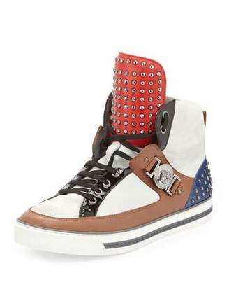 Versace Leather Studded High-Top Sneaker, Brown/White $1,950 thestylecure.com