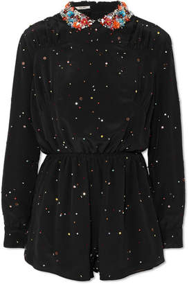 Miu Miu Embellished Silk-georgette Playsuit - Black