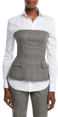 Ralph Lauren Collection Simone Glen Plaid Suiting Bustier Top