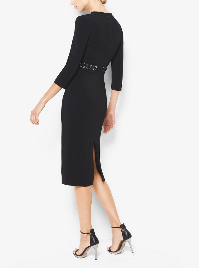 Michael Kors Collection Grommeted Stretch-Cady V-Neck Sheath Dress