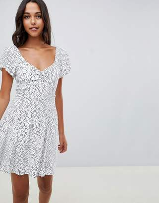 Abercrombie & Fitch tea dress with wrap detail in ditsy spot