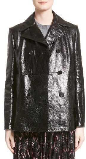 Valentino Women's Valentino Double Breasted Crackled Leather Coat