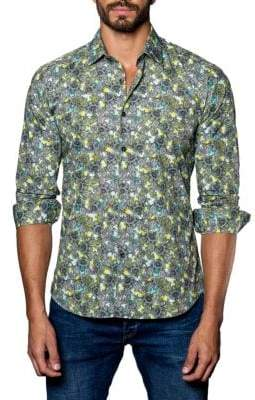 Jared Lang Paisley Trim-Fit Button-Down Shirt