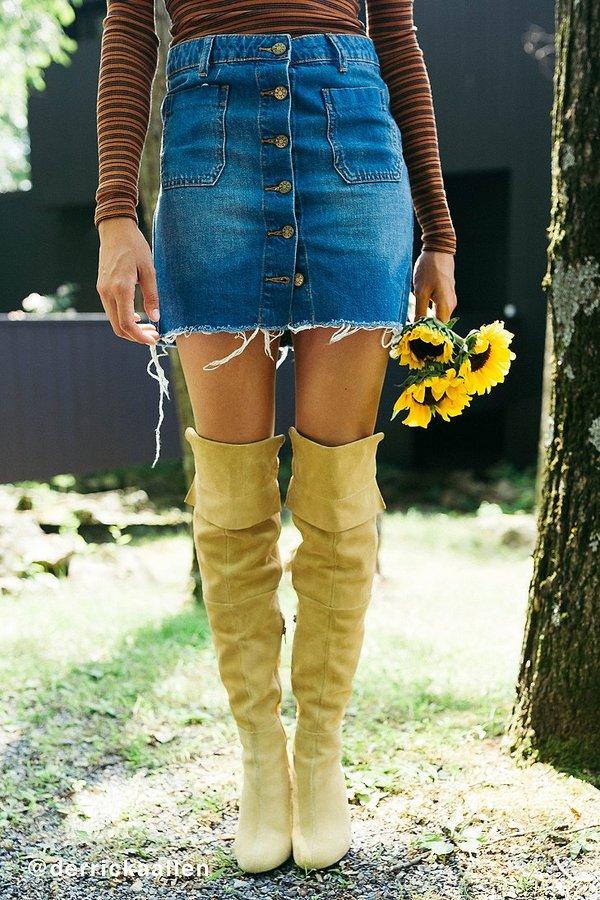 BDG Button-Front Denim Mini Skirt