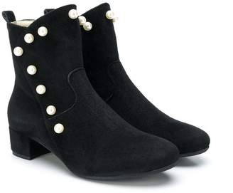 MonnaLisa pearl embellished ankle boots
