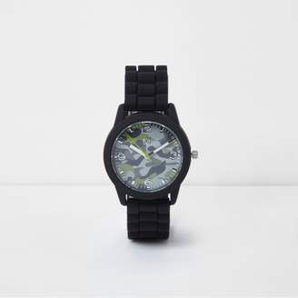 River Island Boys black camo round face rubber watch