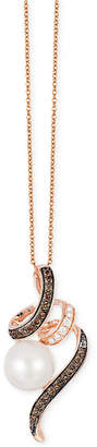 LeVian Le Vian Chocolatier Freshwater Pearl (9mm) and Diamond (1/4 ct. t.w.) Pendant Necklace in 14k Rose Gold