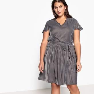 34f5dd65e0 CASTALUNA PLUS SIZE Tie-Waist Laced Velour Dress