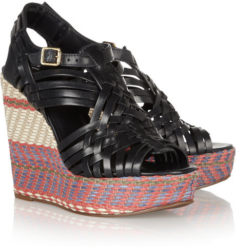 Tory Burch Raven woven leather and raffia wedge sandals
