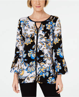 JM Collection Printed Tie-Sleeve Tunic, Created for Macy's