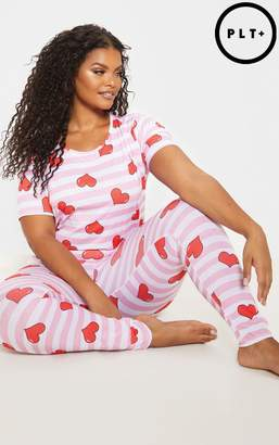 PrettyLittleThing Plus Pink Stripe Heart Print Pj Set