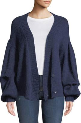 AG Jeans Amari Blouson-Sleeve Wool-Mohair Cardigan
