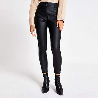 River Island Black faux leather high waisted trousers