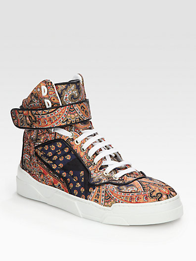 Givenchy Canvas Print & Leather High Top Sneakers