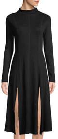 Elegant Slit Long-Sleeve Dress