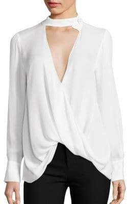 Derek Lam Choker Draped Silk Blouse